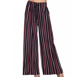 Striped Pleated Palazzo Wide Leg Pants